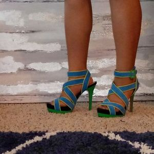 Jessica Simpson Shoes - Jessica Simpson Green & Blue suede platform sandal
